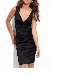 Xscape Black Ruched Stretch Sheath Dress, size 6